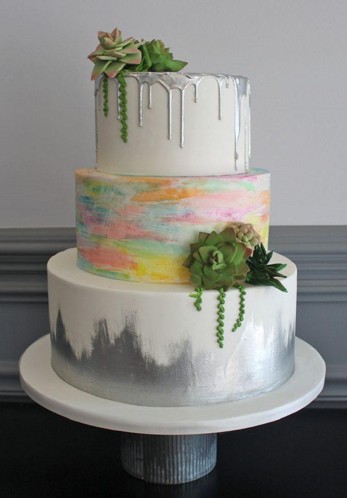 Watercolor Succulent Wedding Cake