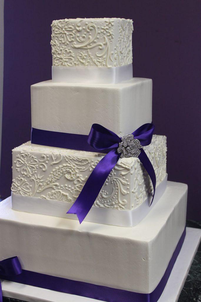 Purple Paisley Square Wedding Cake