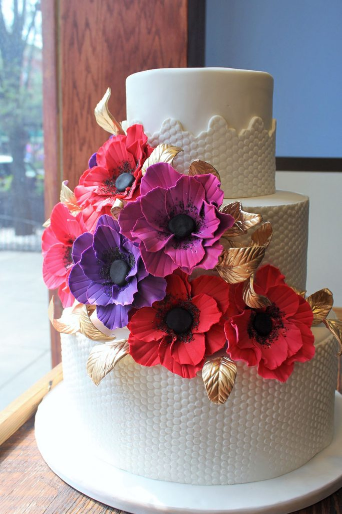 Textured with Fondant Flowers Wedding Cake