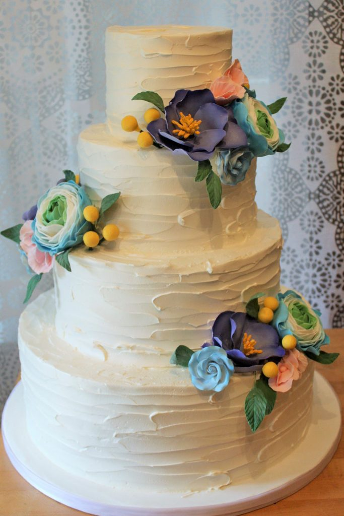 Horizontal Texture with Sugar Flower Wedding Cake