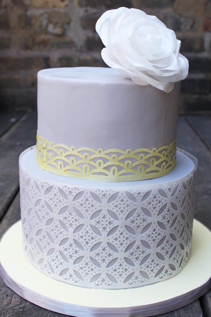Wafer Pattern Wedding Cake