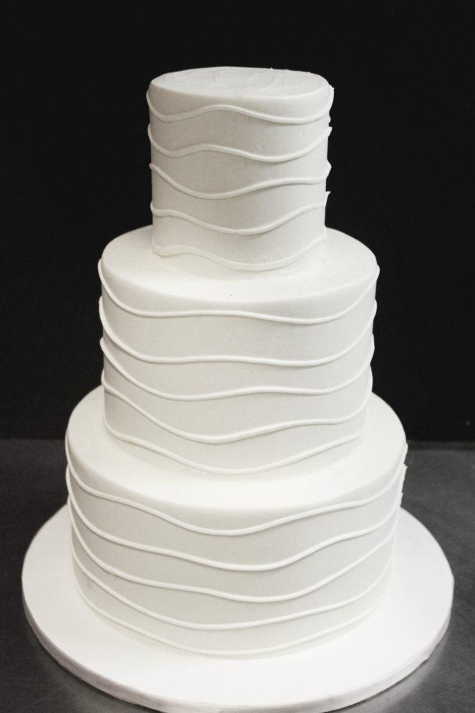 Wavy Lines Wedding Cake