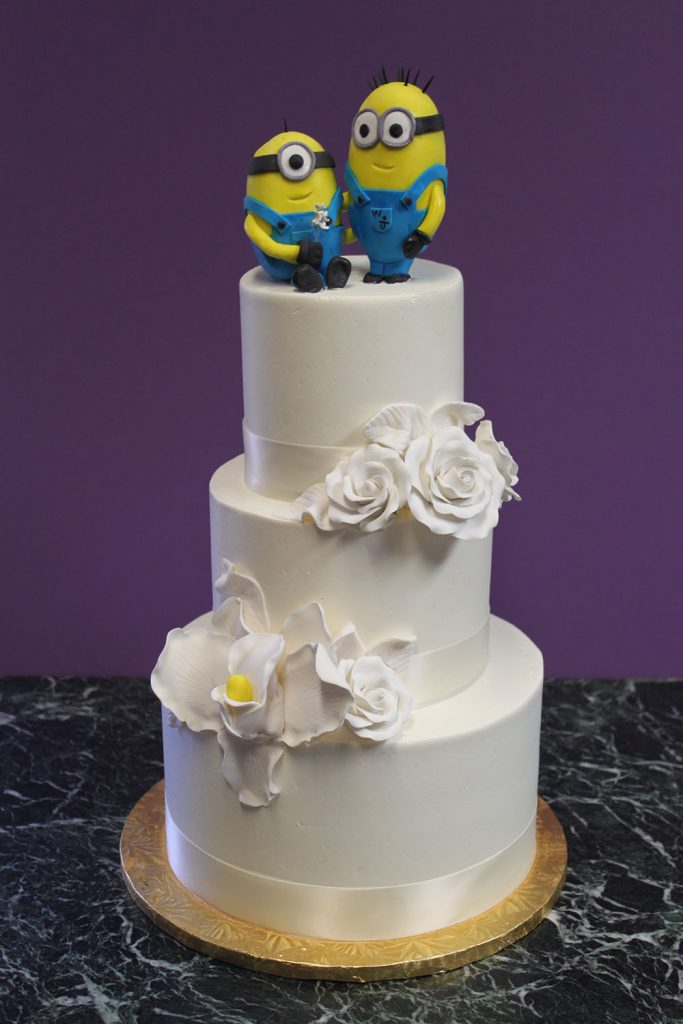 Classic White with Minion Wedding Cake