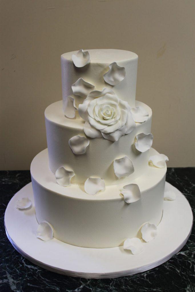 White Rose Petal Wedding Cake