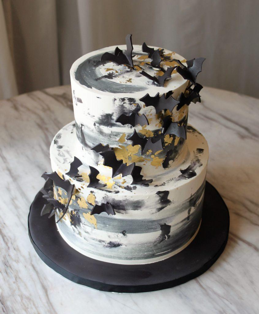 Black and Gold Bat Cake