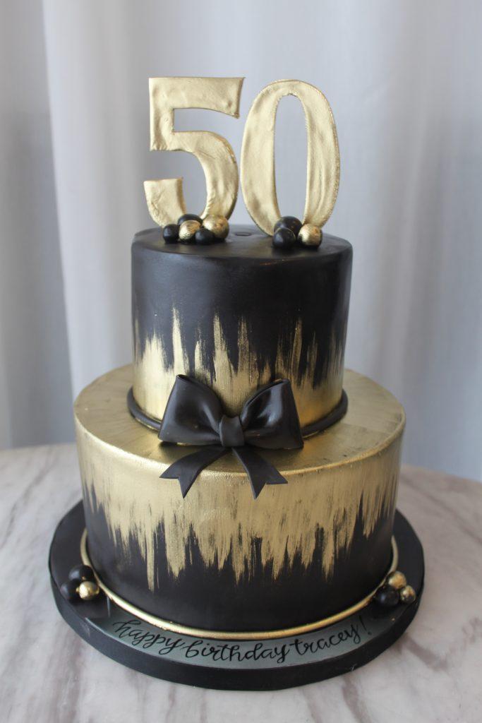 Black and Gold Birthday Cake