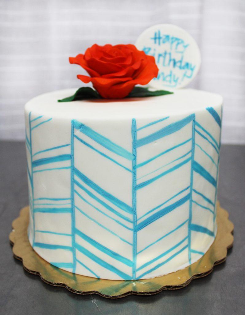 Blue Chevron Cake