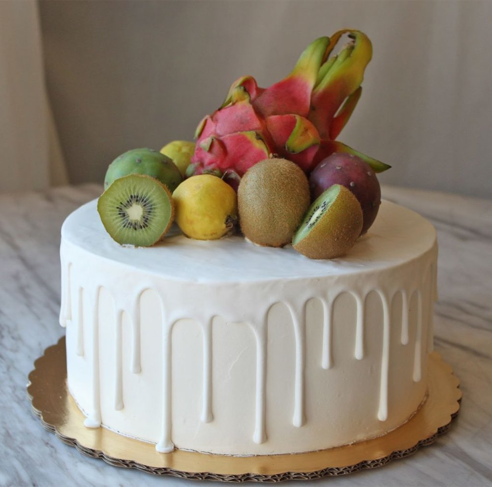 Fresh Fruit and Drip Cake