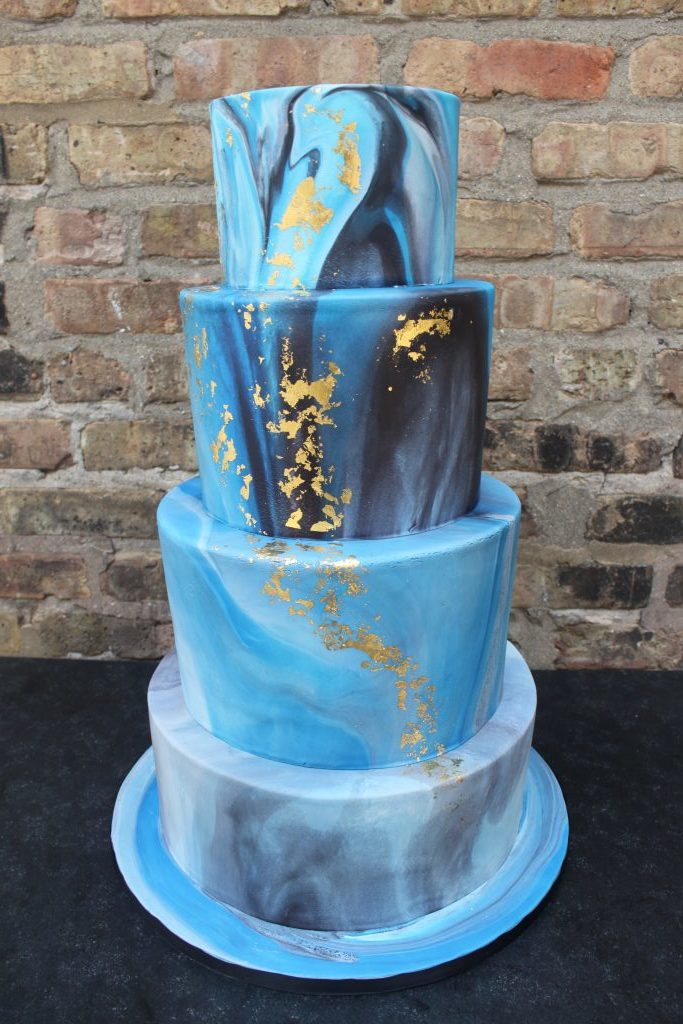 Gold and Blue Marbled Cake