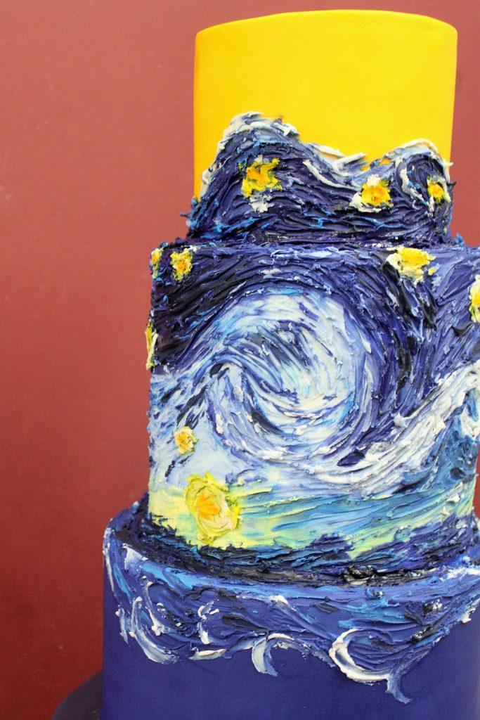 Starry Night Painted Cake