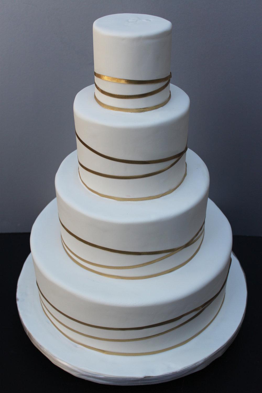 Gold Ribbon Wedding Cake