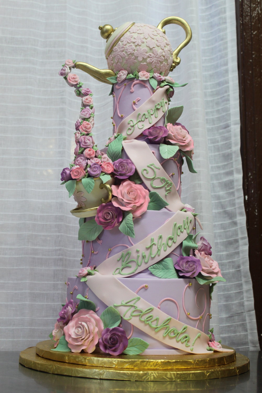 Pastel Teacup & Roses Cake