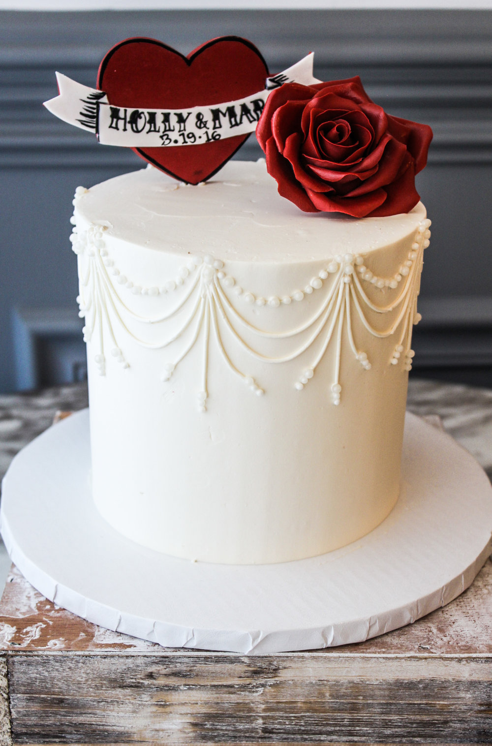 Heart & Rose Engagement Cake
