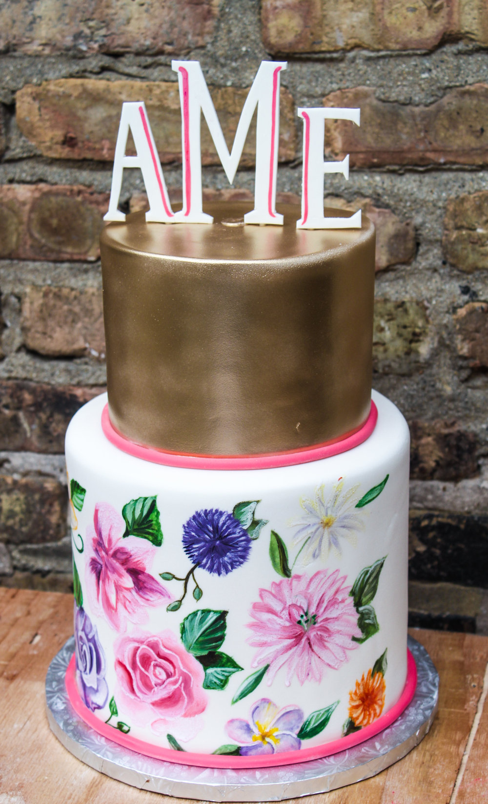 Floral Painted Monogram Cake