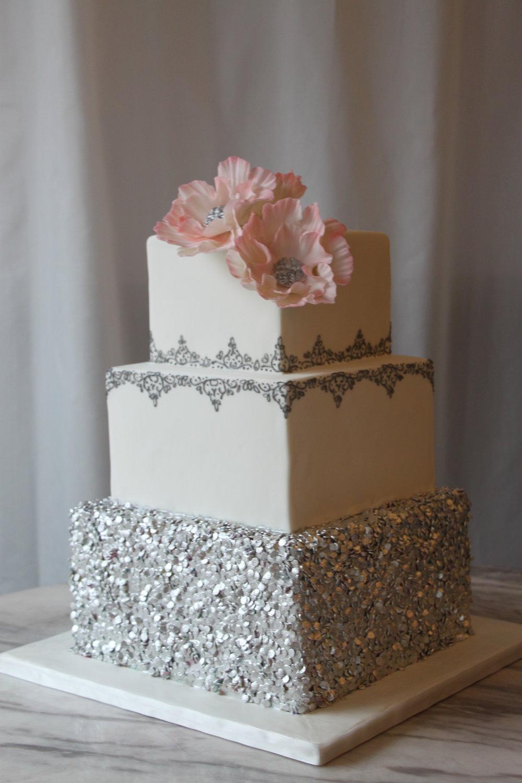Silver Square Wedding Cake