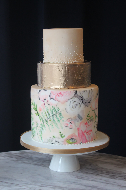 Watercolor Floral Wedding Cake
