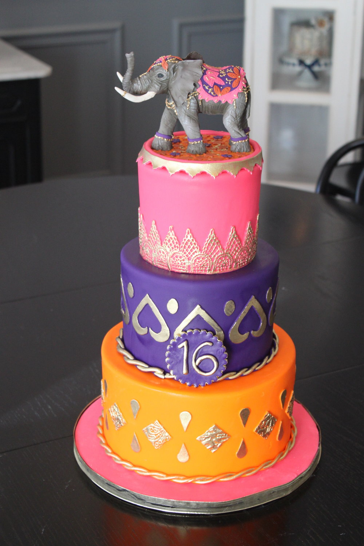 Colorful Elephant 16th Birthday Cake
