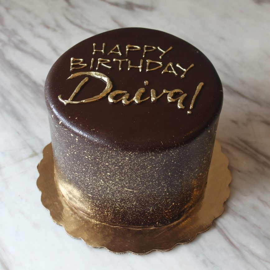 Classic Ganache And Gold Cake