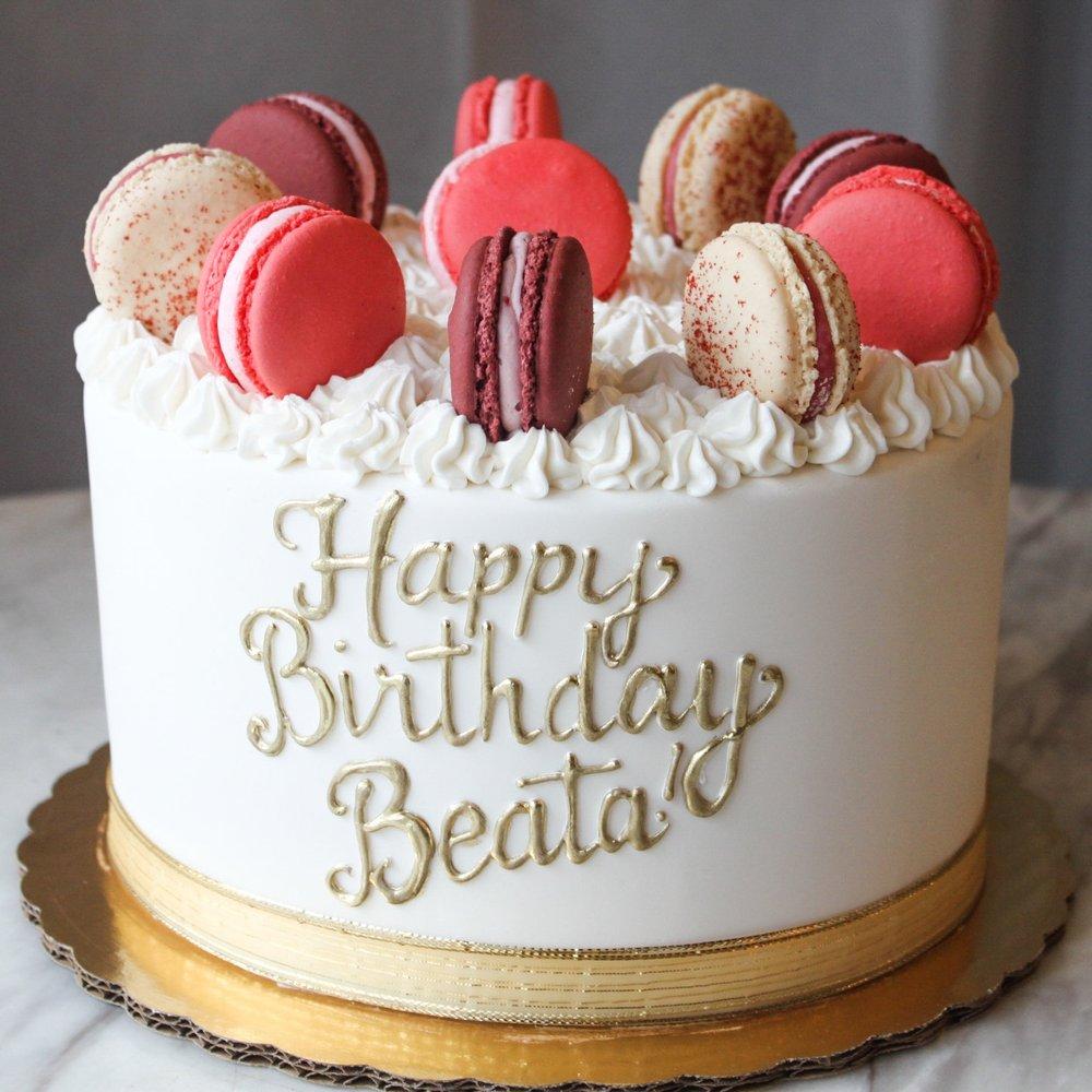 Gold Macaron Birthday Cake