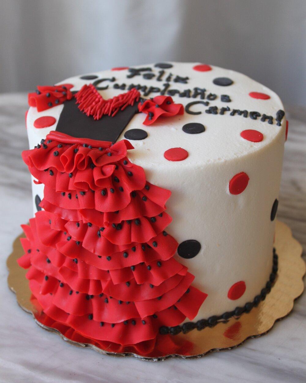 Red Ruffled Dress Cake