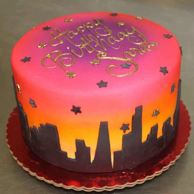 Sunset Skyline Cake