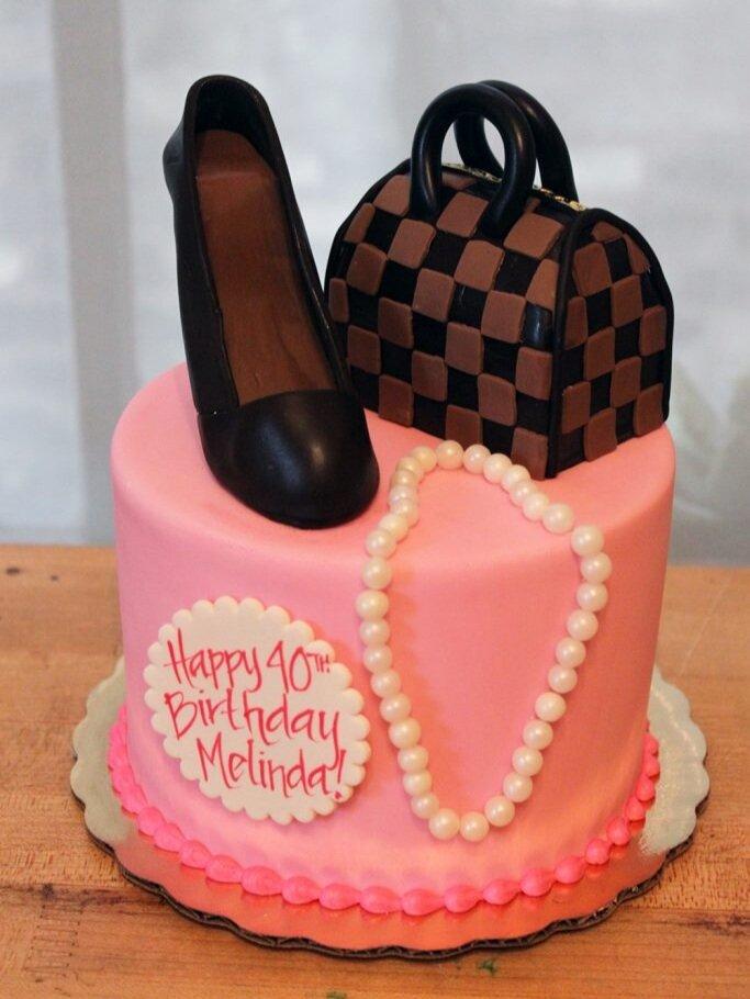 LV Purse and Shoe Cake