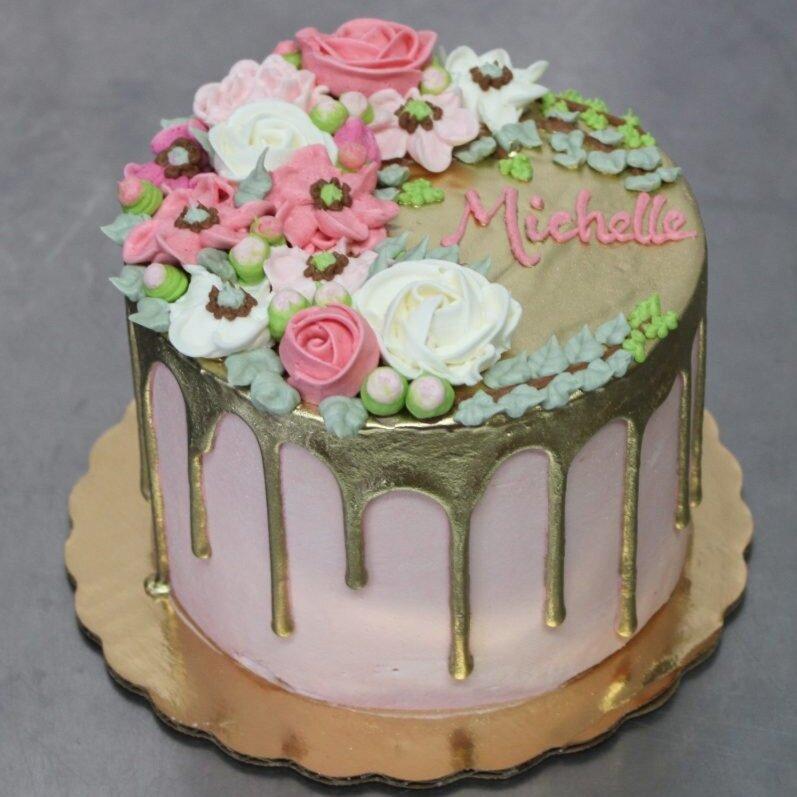 Buttercream Flowers & Gold Drip Cake