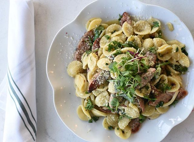 Cheese wheel pasta special tonight 🧀: Orecchiette, salsicia, pancetta, eggplant, and ricotta, in pesto creamy sauce. Come see us after 4pm! #cheesewheelpasta #wednesdayspecial #verandinarestaurant #getinmybelly #imperialbeachrestaurant #italiansandiego