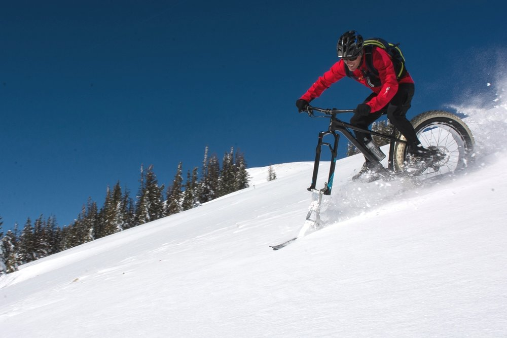 Founder Brooke Scatchard on a Fat Bike Ski in Colorado
