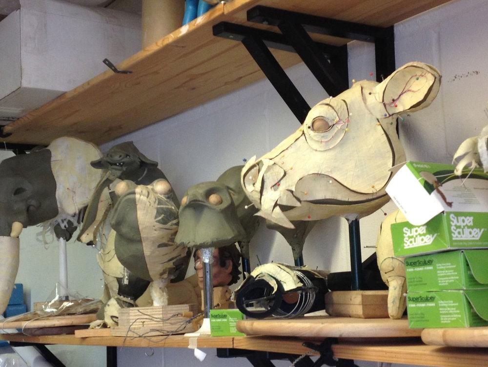 puppet creation, animal head sculpts
