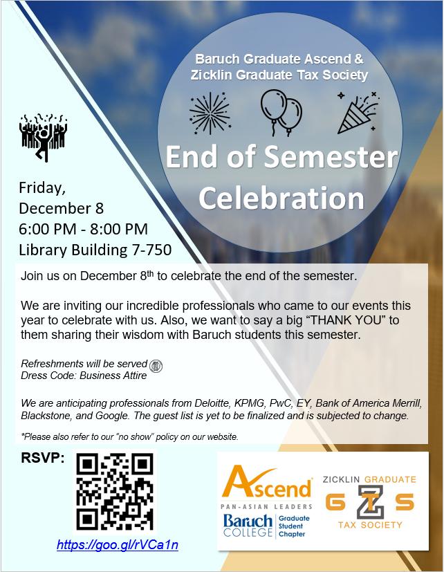 Fall 2017: End of Semester Celebration — Baruch Graduate Ascend