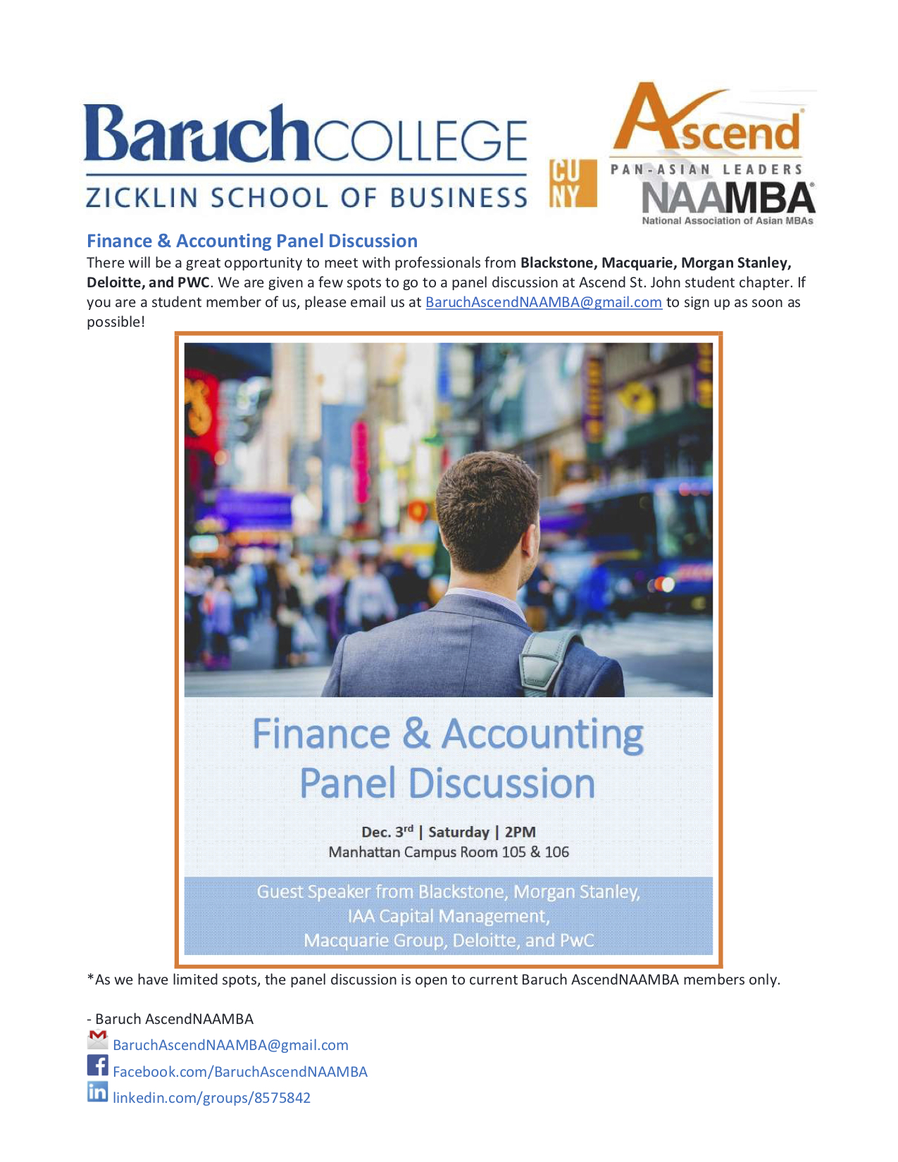 Finance & Accounting Panel Discussion — Baruch Graduate Ascend