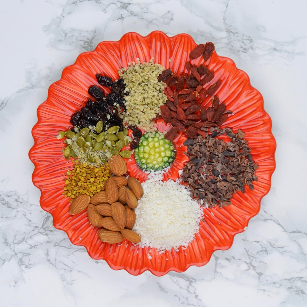 Super Boost It - Once everything gets melting, things happen quickly! To prevent the cacao butter from separating from the sweetener, make sure to have your toppings set aside prior to melting the cacao butter.← check out these yummy examples