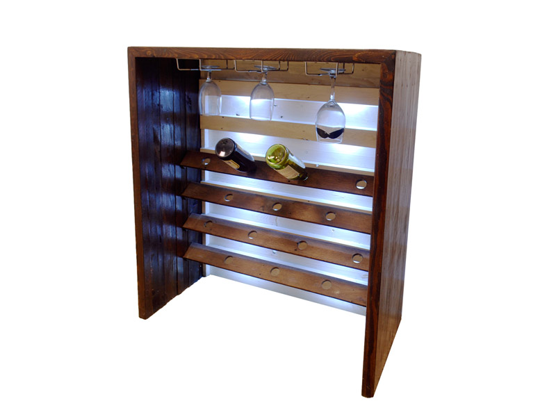 "Wine Bar & Hutch  Made of 100% reclaimed wood, this wine hutch holds 14 bottles and 9-12 glasses. This LED-backlit wine rack is a great piece for storage, and the bar top makes for a perfect service station. Measures 15.5""(L) x 35.5""(W) x 40""(H). Part #: WHUT."