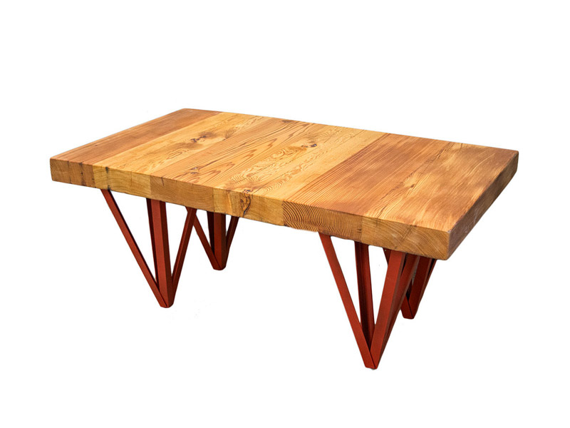 """Talking Dead"" Table  A sleek, elegant and sturdy design, with reclaimed pine shelving and a square tube welded-iron frame. Multiple frame colors and wood stains available. Measures 33""(L) x 19.5""(W) x 28.5""(H). Part #: TVSD."