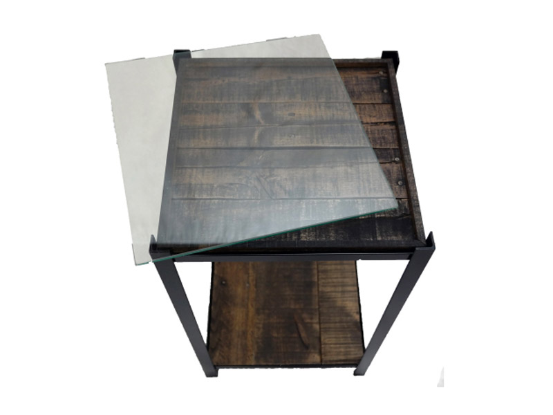 "New Orleans Series - Photo Side Table  Glass insert holds photo or album cover in place to create a unique side table. Measures 14""(L) x 14""(W) x 24""(H). Angle iron frame. Multiple colors and wood stain options. Part #: NOPT."