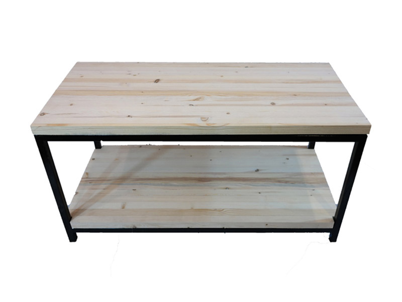 "Evergreen Series - Coffee Table  Built with solid pine and a sturdy square tube frame. Multiple wood finishing and paint options available. Measures 20""(L) x 40""(W) x 20""(H). Part #: EVCT."