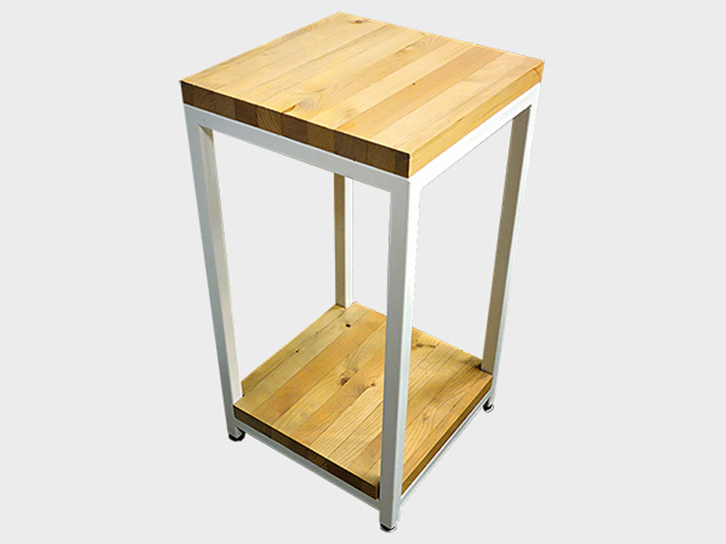 "Evergreen Series - Side Table  Built with solid pine and a sturdy square tube frame. Multiple wood finishing and paint options available. Measures 14""(L) x 14""(W) x 24""(H). Part #: EVST."