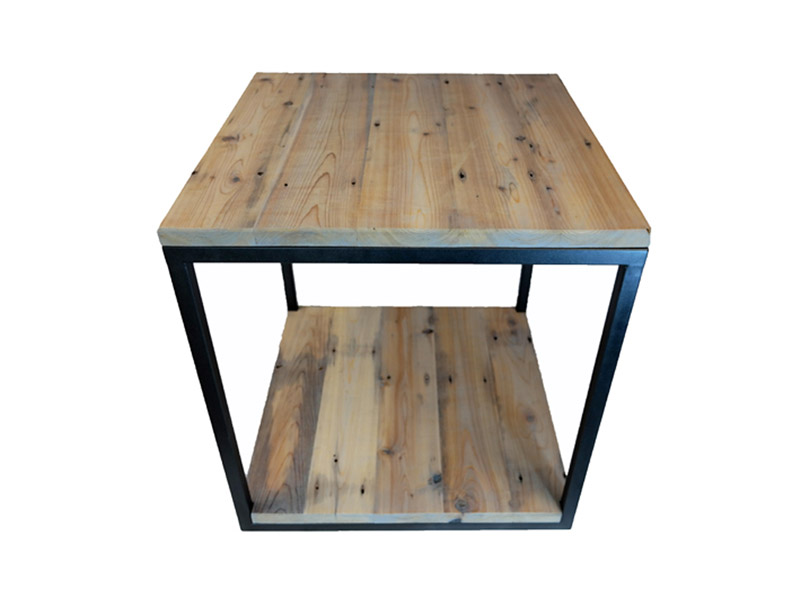 "Wood & Steel Square Table  Made from reclaimed wood and steel. Iron tube frame. Measures 24""(L) x 24""(W) x 24""(H). Multiple frame colors and wood finishing options available. Part #: WSCT."