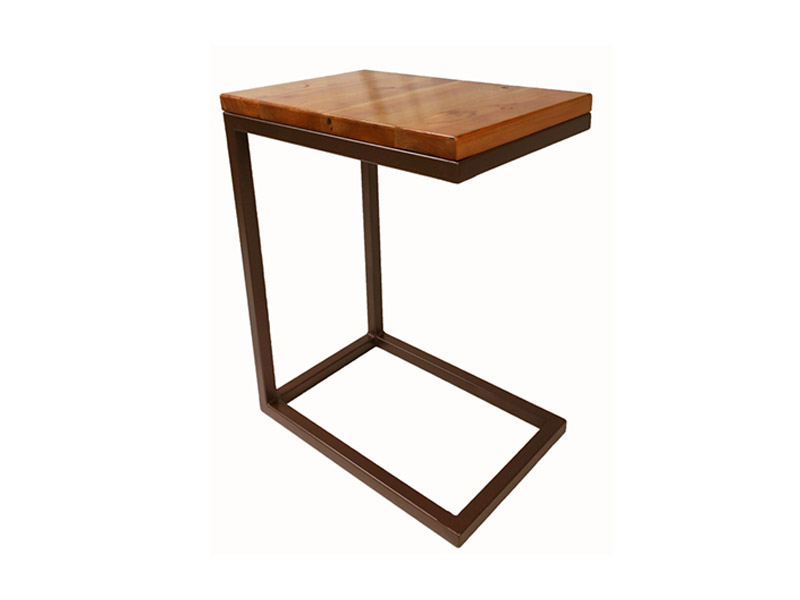 "Wood & Steel Tray Table  Perfect for any space, this slim design fits under almost any couch or chair. Made from reclaimed wood and steel. Iron tube frame. Measures 18""(L) x 12""(W) x 23""(H). Multiple colors and finishes available. Part #: WSTT."
