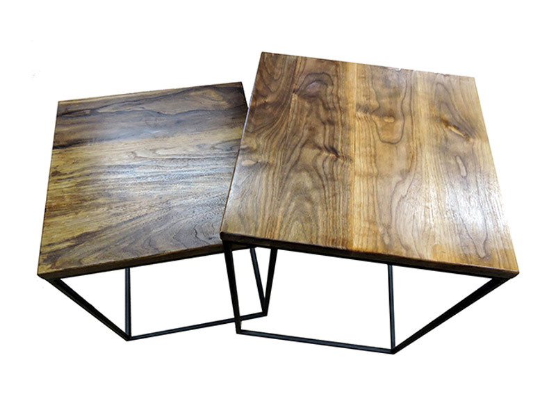 "Black Walnut Nesting Tables  Beautiful table set created from black walnut and black steel. Iron tube frame and clear wood finish. Large table measures 18""(L) x 18""(W) x 24""(H); small table is 16"" x 16"" x 21"". Part #: NTBW."