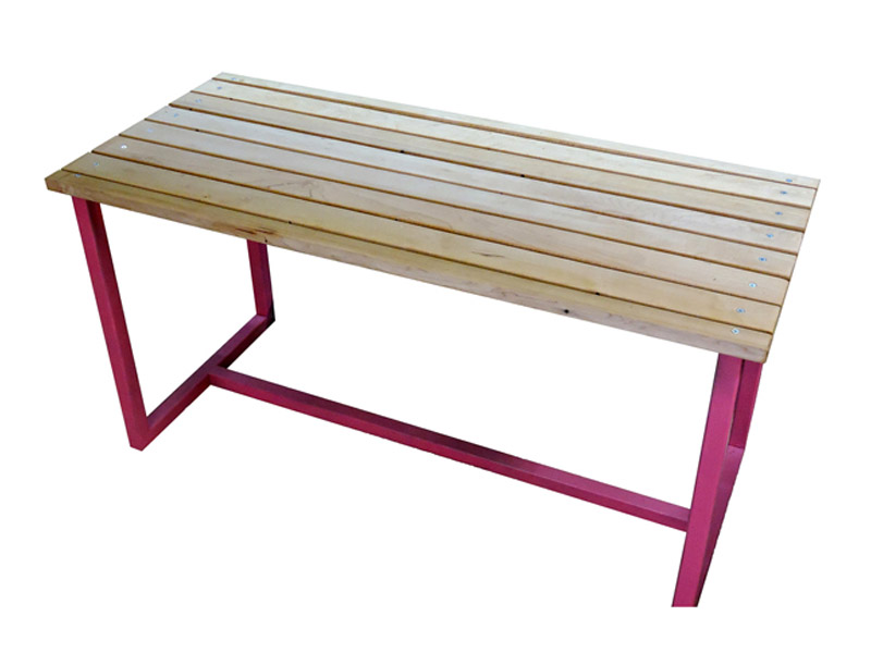 "Hardwood Bench  Created from reclaimed hardwood flooring, this bench is ideal for entry rooms or hallways as a place to sit down and take off your shoes. 1"" square iron tube frame. Multiple paint and finish options. Measures 36""(L) x 16""(W) x 18""(H). Part #: HWBB."