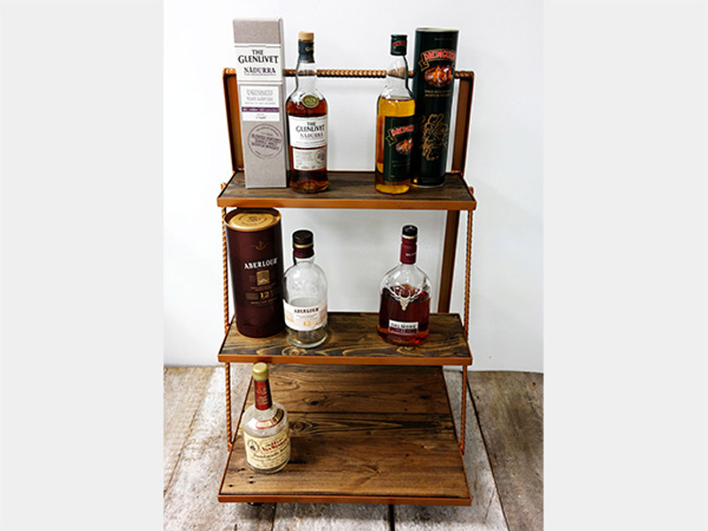 "Drink Cart  Created from pallet wood, this cart is an elegant addition to any home bar or rec room. Features rebar supports and accents, with casters for portability. Multiple colors and finishes available. Measures 32""(L) x 22""(W) x 32""(H). Part #: PWDC."