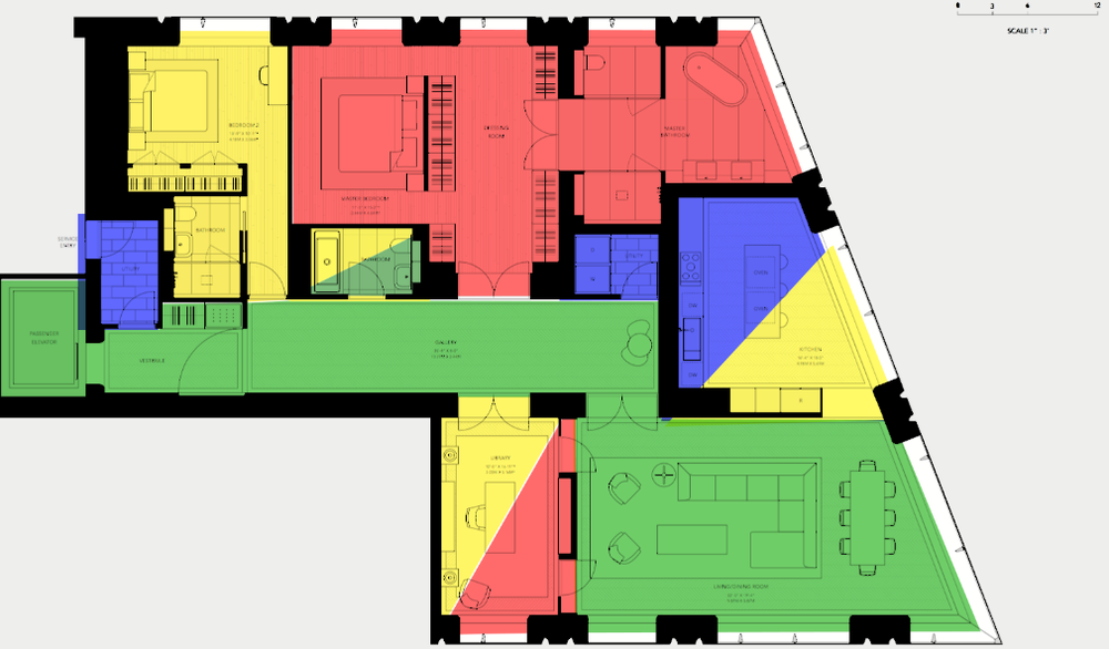 "Exhibit ""B"": 7C with space divisions. Color key: Green: public. Yellow: semi-private. Red: private. Blue: service only. Courtesy 551 West 21st Street Owner LLC and Foster + Partners."