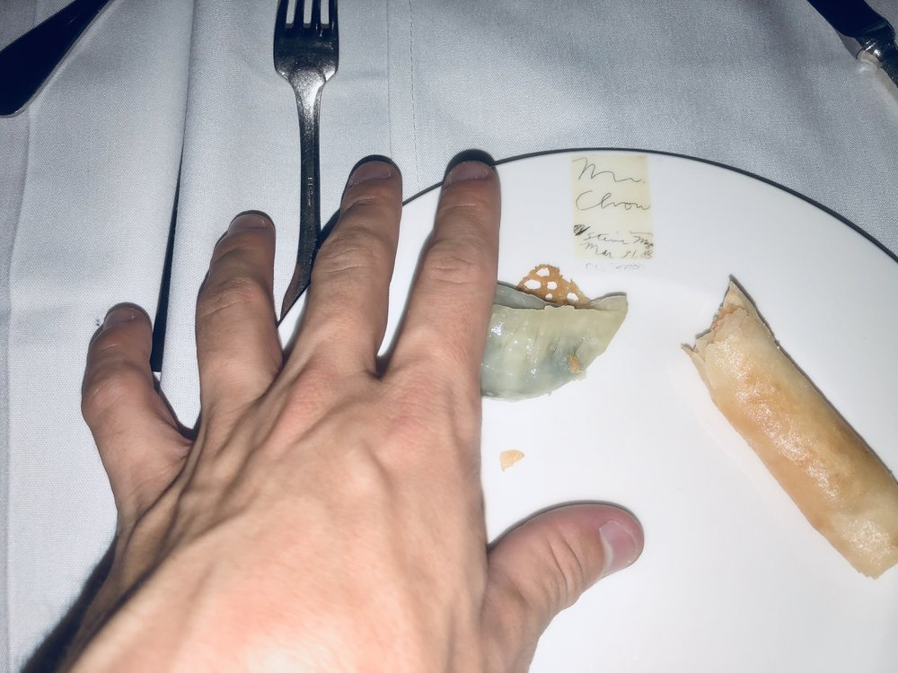 My hand touching a plate  (2018)