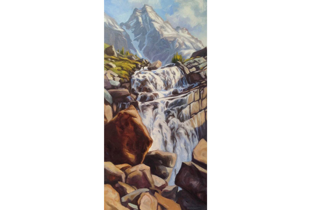"Patti Dyment - Victoria Falls: Oil on canvas, 30"" x 15"" [framed]Retail: $900"