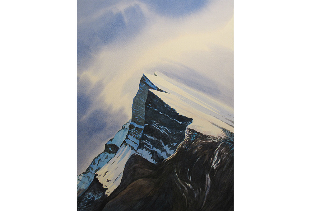 "Roy Miller - Mount Rundle: Watercolour print, 16"" x 15"" [framed]Retail: $400"