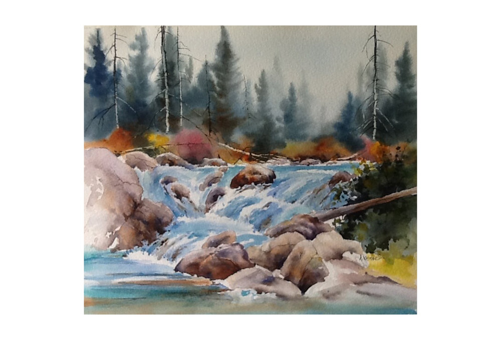 "Donna Jo Massie - Falls on the Stream: Original watercolour, 15"" x 17"" [framed]Retail: $450"