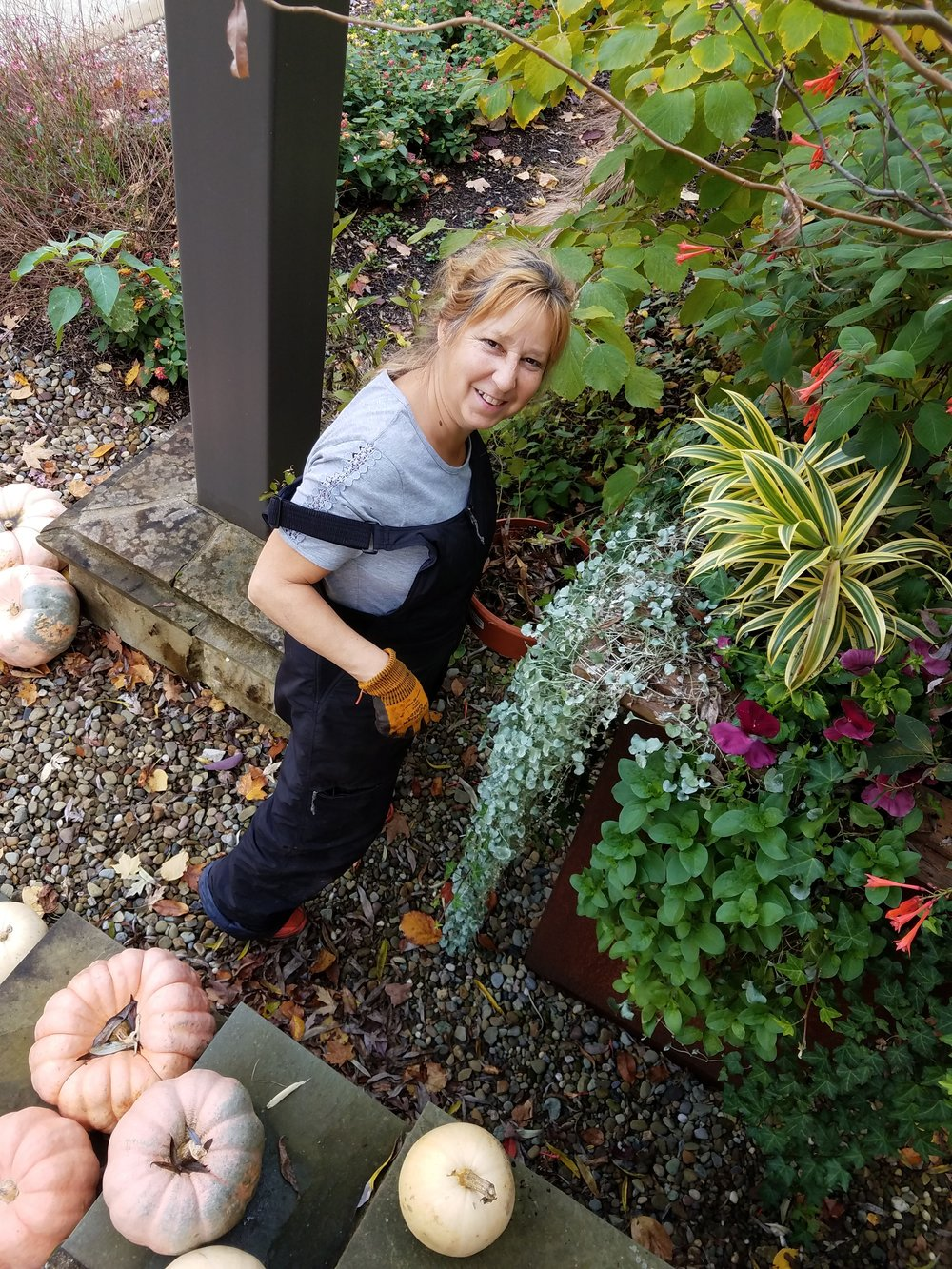 Certified Arborist /Landscape Designer/Farmer - Carol Palansky has over 28 years of experience and all the success stories of her clients that have had a established working relationship with her through the years! Above are just a few examples of the versatility scope, and range of her designs.The initial consult always is about getting to know your style! Is it whimsical or formal? Is it practical or over-the-top? Is it for a one-time event or is it to establish a timeless year after year display of fragrance and color? Carol listens carefully and consults before the work gets started. Suggestions are made throughout the design process and are based upon proper soil tests and on your environment. Voila! The connection is made and the right fit for you is then created!