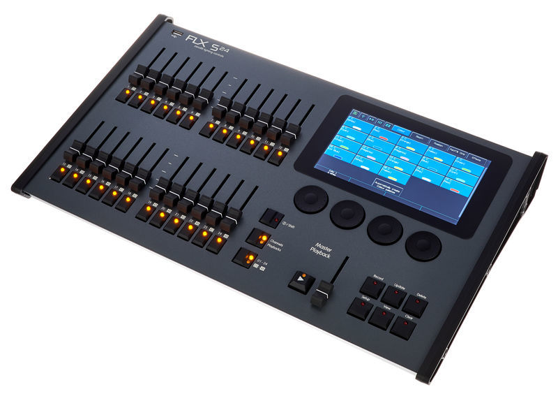 Zero88 FLX S24     A fully featured, comprehensive and robust lighting console built on the high performance ZerOS operating software platform.